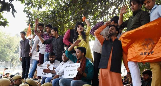 ABVP marches against anti-national Indians